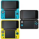 AFUNTA Schutzhülle für Neue Nintendo 2DS XL, Set aus 3 Anti-Rutsch-Silikon-Abdeckung mit Komfort-Feeling - Schwarz, Blau, Gelb