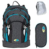 3 Teile Set YZEA Schulrucksack Rucksack Ace mit Etui Box Mäppchen und Regenhülle (Tweed)