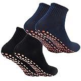 2Paar Anti-Rutsch-Socken Yoga Socken Rutschsocken Stopppersocken ABS Socken für Erwachsene Männer Herren Antirutsch Sportsocken Baumwolle für Sport Yoga Pilates Gymnastik Trampolin (Schwarz/Navy)
