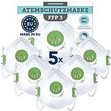 Maske FFP 3 aus europäischer Produktion 5 Stück- CE zertifizierter Atemschutz gegen flüssige und feste Partikel wie Aerosol oder Asbest