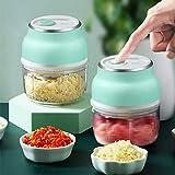 Elektrischer Mini-Knoblauchhacker Knoblauchschneider Knoblauchstampfer, USB-Aufladung Tragbarer Gemüsefruchtfleisch-Lebensmittelhacker mit 3 scharfen Klingenschleifer 150 ml