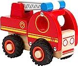 small foot 11075 Feuerwehrfahrzeug aus Holz, gut greifbar, mit gummierten, bodenschonenden Rädern, ab 18 Monaten