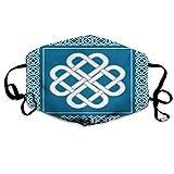Clsr Bequemes bedrucktes Schild, keltischer Liebesknoten Glückssymbol Rahmen Rahmen Historisches Amulett-Designthema, Winddichte Gesichtsdekorationen für Mann und Frau