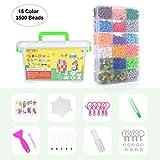 Kinderbeads Bastelset Starter Set Wasser Handwerk Perlen Beads Designer Kollektion für Kinder DIY Spielzeug Bastelperlen Glitzerperlen mit Zubehör (15 Farben, 3500 Perlen)