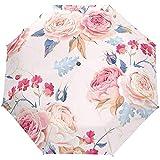 Rosa Blumen Blumen Rosen Auto Öffnen Schließen Winddicht Sonne Regen Golf Regenschirm Kompakte Klappschirme für die Reise Frauen Männer Kinder Jungen Mädchen
