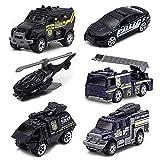Spielzeugautos – Druckguss-Polizeiauto Spielzeug für 3 4 5 6 7 Jahre alte Jungen Mädchen Kleinkinder – 6 Pack Legierung Polizeifahrzeuge Set Geschenke enthalten Autos & Hubschrauber