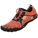 SAGUARO Outdoor Sport Barfußschuhe Herren Traillaufschuhe Training Fitnessschuhe Leicht Laufschuhe Walkingschuhe Männer Zehenschuhe Wasserschuhe Orange 45 EU