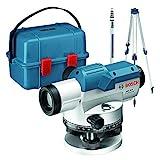 Bosch Professional Optisches Nivelliergerät GOL 26 D (26-fache Vergrößerung, Maßeinheit: 360 Grad, Arbeitsbereich: bis zu 100 m, Messlatte GR 500, Baustativ BT 160, im Transportkoffer)