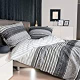 Janine Mako Satin Bettwäsche 155 x 220 cm Satin Bettbezug grau Palermo Bettwäsche grau aus Baumwolle