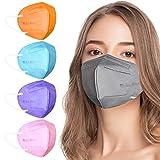 AHOTOP FFP2 Masken Bunt FFP2 Maske CE Zertifiziert 5 Farben 20 Stück, FFP2 Maske Grau, Blau, Rosa, Lila, Orange, Gesichtsmaske Mund Nasen Schutzmaske Einzeln Verpackt