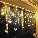 LED Lichtervorhang, LED Lichterkette, WeihnachtenBeleuchtung, 93 LED Lichterkettenvorhang, Lang Schneeflocke LED String Licht, EU Stecker, Innen/Außen, Weihnachtsdeko Christmas, Warmweiß 3.5 * 0.8M