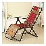 Klappdeck-Liegestuhl, Lazy Lounge Chair Freizeitstuhl im Freien Bambusmatte Verbundener Loungesessel