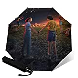 PLUAN Strange-Things Reise-Regenschirm 10 Rippen Regenschirme Leicht Stabil Automatik Regenschirm für Damen Herren, Schwarz (Schwarz) - Umbrella-212613351-1