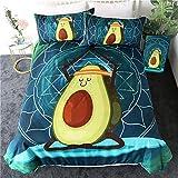 LVYE Bedding Cartoon Bettwäsche Set Für Kinder Avocado Bettbezug Queen Yoga Druck Bett Set Mandala Green Home Textiles 3St,210cmx210cm