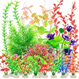 YMHPRIDE 22PCS Aquarien plastikpflanzen, künstliche Wasserpflanzen, Aquarium-Aquariumpflanzen, gefälschte Wasserpflanzen Aquarium Dekoration, Simulation Hydroponikpflanzen (Mischfarbe)
