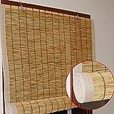 MANG Bambusrollo Natür Sichtschutz Holzrollo Für Fenster Seitenzugrollo, Aussenbereich Stoffrand Dekorationen Rollo Bambus