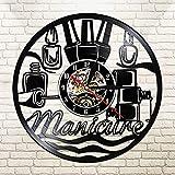 BFMBCHDJ Nail Art Vinyl Schallplatte Wanduhr Wand Wanduhr Beauty Shop Nail Art Nagellack Vinyl Schallplatte dekorative Uhr A01 No LED 12 Zoll