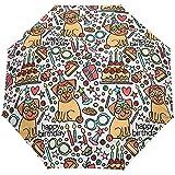 Netter Hund Alles Gute zum Geburtstag Kuchen Auto Open Umbrella Sonnenregen Regenschirm Anti UV Folding Compact Automatic Umbrella