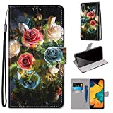 Miagon Flip PU Leder Schutzhülle für Samsung Galaxy A20e,Bunt Muster Hülle Brieftasche Case Cover Ständer mit Kartenfächer Trageschlaufe,Blühen Blume