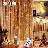 LED Lichtervorhang 3 * 3Meters Tomshine 300 LED USB Lichterkettenvorhang mit 8 Modi für Party deko schlafzimmer, Innenbeleuchtung, Weihnachten, außen | Warmweiß, IP65 [Energieklasse A++]