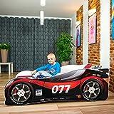 Nobiko Autobett Kinderbett Bett Schlafzimmer Kindermöbel Spielbett 160 x 80 cm + Qualitativ Hochwertige Schlafmatratze Dream Heaven m (Black-red 077, 160 x 80 cm)