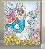 JAWO Meerjungfrau Wohnmobil-Duschvorhang für Badezimmer, Märchen Meerjungfrau Mädchen mit Meerjungfrauen Fisch Seepferdchen am Meer Fantasy Stoff Wohnmobil-Duschvorhänge, 119,4 x 162,9 cm