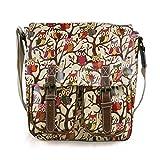 Miss Lulu, Damen-Handtasche aus Wachstuch mit floralem Eulenmuster und Schultergurt, (Owl Beige) (Braun) - unknown