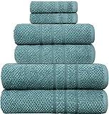 PH Pleasant Home Badezimmer Handtuch-Set 6teillig – 2 Badehandtücher, 2 Handtücher, 2 Waschlappen – 100% Baumwolle – 550 g/m² – Popcornstruktur – Weich & Saugfähig (Meeresgrün)