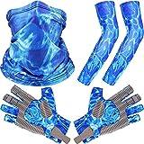 Jiuguva Angelhandschuhe Sonnenhandschuhe Kajakhandschuhe Sonnenschutz Fingerlose Handschuhe mit einem Halstuch/ein Paar Armstulpen für Herren Damen Wandern Kanu fahren Rudern