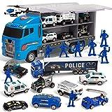 JOYIN 10 in 1 Transportfahrzeug Polizei Rettungsfahrzeug Transporter Spielzeug Set, Mini Polizeiauto LKW Spielzeugset im Lastwagen für Kinder Junge Mädchen