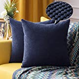 Homealexa Granulat Kissenbezug Weiche Kissenbezüge aus Baumwolle Kissenhülle Sofakissen Decor für Autos Wohnzimmer Schlafzimmer (Dunkelblau, 55 x 55 cm)