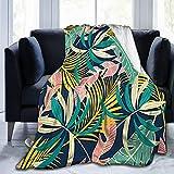 Olverz Decke für den Sommer, Blätter, Pflanzen, flauschig, warm, für alle Jahreszeiten, verblasst nicht, Sofadecke, bequeme Plüschdecke für Auto, Bett, Zuhause, Camping, 152,4 x 127,7 cm