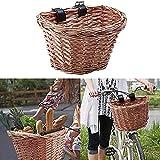jtxqy Weidenkorb D-Form Fahrradkorb Handgeflochten Einkaufskorb Fahrrad Lenker Aufbewahrungskorb mit Lederriemen