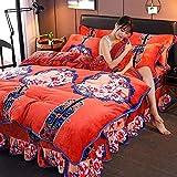 FPXNBONE Bettbezug Kissenbezüge,Vierteiliges Dickes Korallenvlies, warmes Bettzeug-M_1.5m Bett,100% Baumwolle Garn gefärbt Bettwäsche-Set