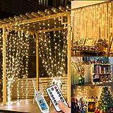 WEARXI Lichtervorhang 3×3m 300 LEDs Lichterkette Lichtvorhang, 8 Modi LED Vorhang Lichterketten für Innen Deko, Zimmer Deko, Partydekoration, Weihnachtsdeko, Outdoor Deko(Warmweiß)