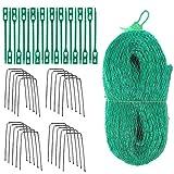 Vogelschutz Netz, 4M x 10M Vogelschutznetz, Grün Laubschutznetz für Garten Pflanze Obstbäume Crop mit Kunststoff-Drehbinder und U Förmigen Garten Klammern