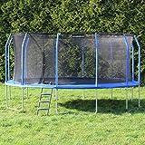 Gartentrampolin Ø 488 cm, Trampolin-Set: Sprungmatte, Sicherheitsnetz mit bogenförmigen Netzpfosten, gepolstert und Leiter