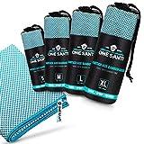 ONE SANTI Reisehandtuch - Unsere Bambus Handtücher als Top Outdoor Handtuch - Reisehandtuch schnelltrocknend & kompakt - Travel Towel (Aqua S)