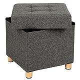 SONGMICS Sitztruhe, Sitzhocker mit Stauraum und Deckel, Fußhocker mit Holzfüßen, 38 x 40 x 38 cm, dunkelgrau LSF14GYZ