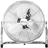 Pro Breeze 50 cm Bodenventilator aus Chrom, Ventilator mit 3 Geschwindigkeitsstufen und verstellbaren Ventilatorkopf - Windmaschine für Fitnessstudio oder Werkstatt