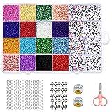 Perlen Buchstaben,Glasperlen und Buchstabenperle Set,400 pcs Perlen Buchstaben,6600 pcs Mini Glasperlen,Glasperlen Set,Perlen zum Auffädeln,Bastelperlen