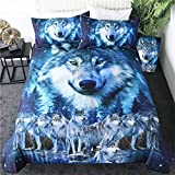 LVYE Bedding Wolf Bettwäsche Set Galaxy Star Bettbezug Königin 3D-Druck Tier Bettbezug Nachthimmel Wald Bett Set 3-Teilig,173cmx218cm