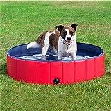 Dorit Faltbarer Hundepool für den Sommer, PVC, rutschfest, langlebig, für Hunde, Planschbecken für Kinder, Rot, 100 x 30 cm