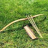 NO LOGO XBF-Bögen, Bambus-Holz-Bogen-Kinder Bögen und Pfeile mit 3 Sicherheitspfeilköcher Armschutz for Außenbogenschießen Jagd Spielzeug Geschenk des Kindes